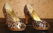 Леопардовые туфли,  высокий каблук